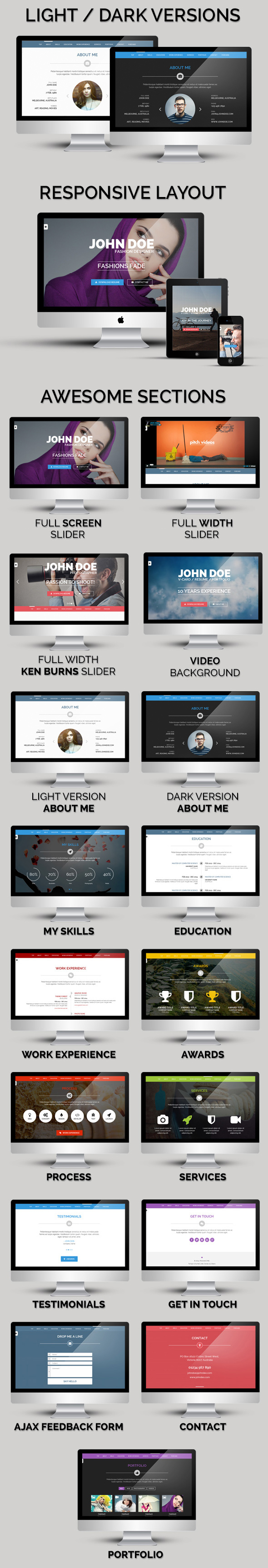 Personal One is a clean, modern and Professional VCard / Resume / Personal Portfolio WordPress T ...