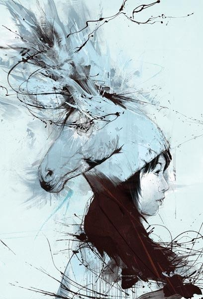 Russ Mills- Another expressive art work, a horse head s combined in the illustrated women's hat. ...