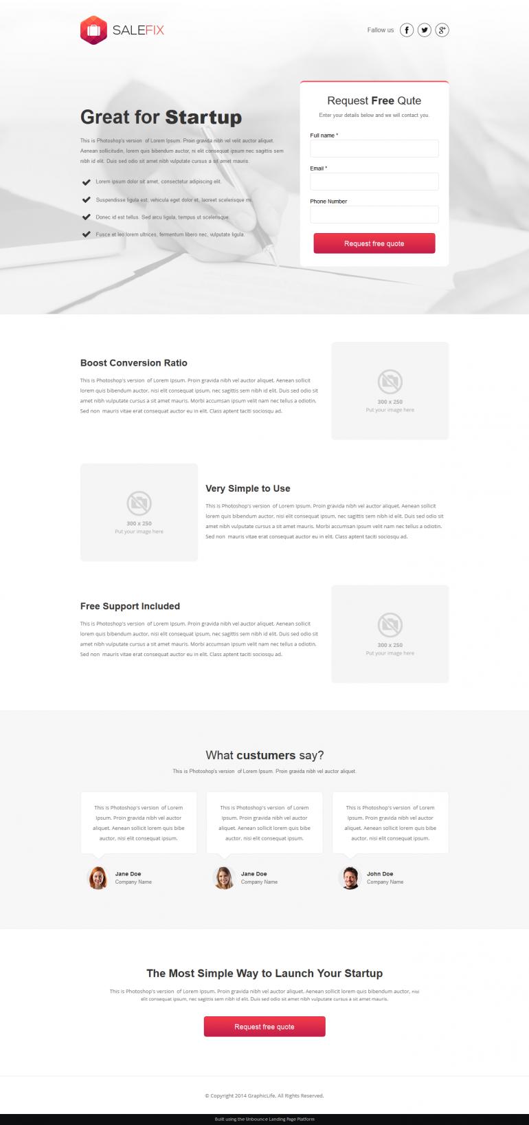 #website #design #SaleFix #Unbounce Landing Page Template  ->