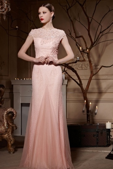 Sheath Lace Key Hole Back Short Sleeves Floor Length Formal Dress [XHC30618]- AU$           487. ...