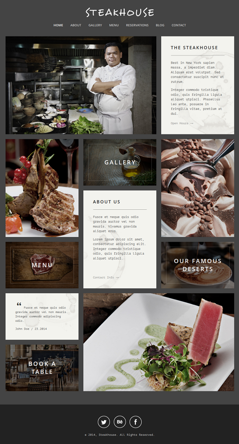 Steakhouse is a responsive and retina-ready WordPress website with grid system layout. Mobile To ...