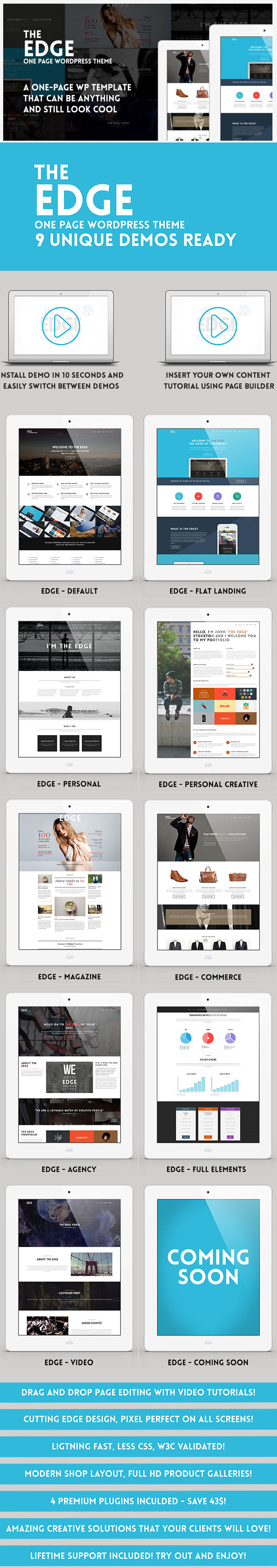 The Edge Template is a multifunctional one page template with the ability to become any website  ...