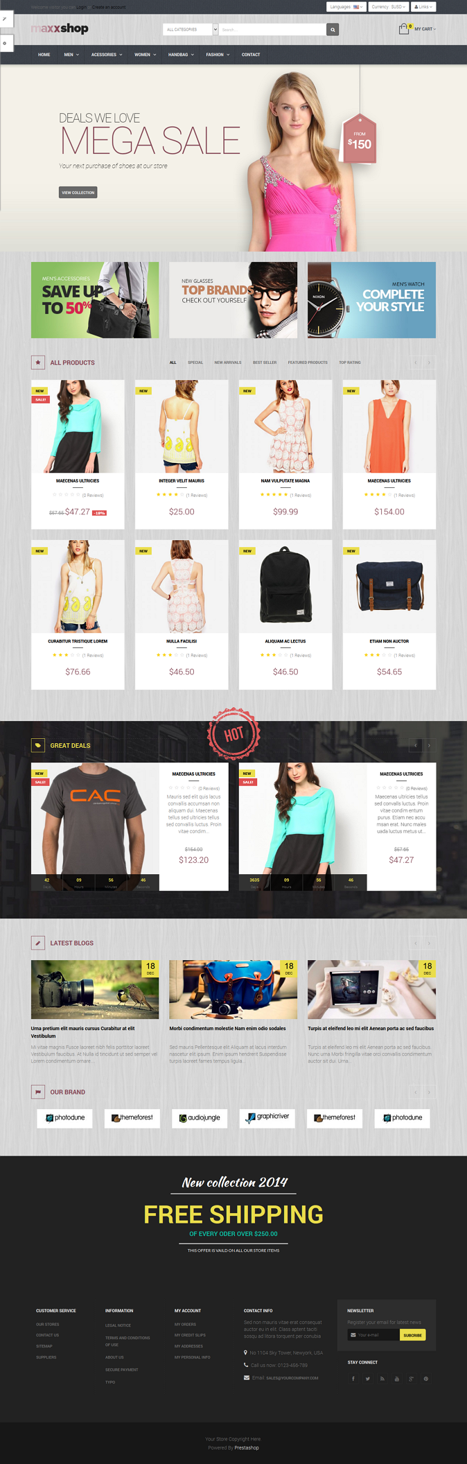 Pts Maxxshop is Great Prestashop 1.6 Template suitable for Handmade Store, Fashion products Shop ...