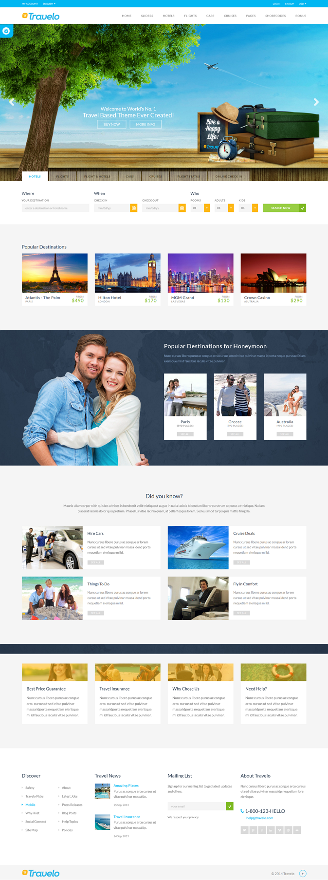 Travelo is an responsive Html5 Travel Template. It has booking pages for hotel, fight, car and c ...
