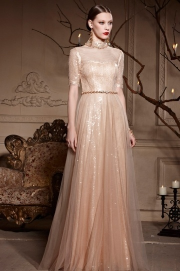 Vintage High Neck Champagne A-line Zipper Tulle Long Formal Dress [XHC30593]- AU$           472. ...