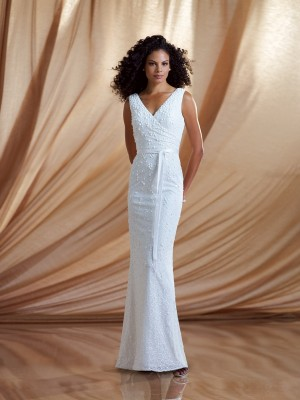 V Neck Floor Length White Beading Chiffon Sheath Column Prom Dress Omc0026 Weight2.0000 Back St ...