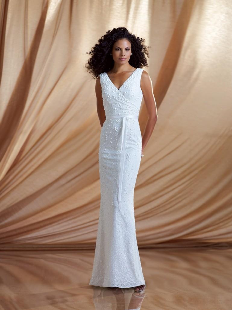 V Neck Floor Length White Beading Chiffon Sheath Column Prom Dress Omc0026Weight 2.0000Back St ...