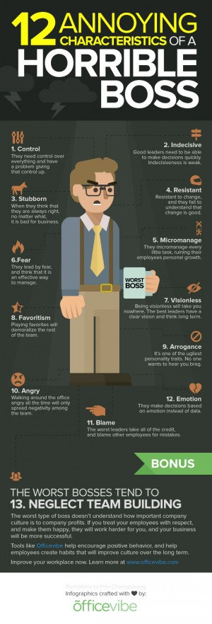 What are the Most Annoying Characteristics of a Horrible Boss? [INFOGRAPHIC]