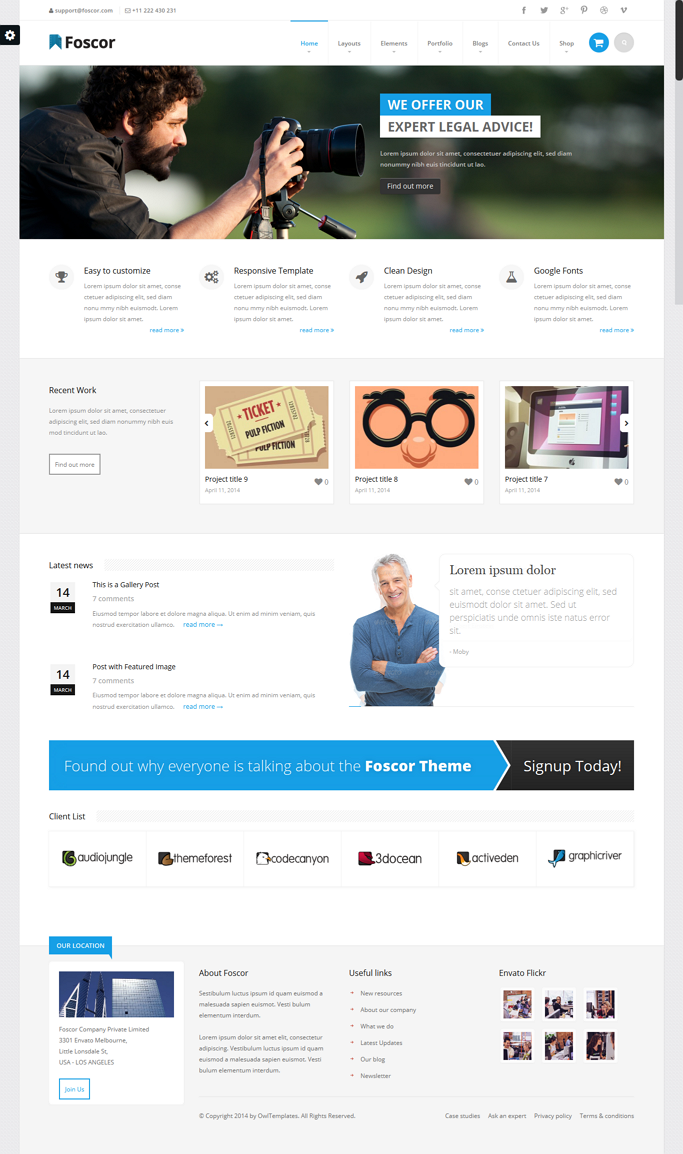 Foscor WP is powerful WordPress Theme designed in a clean and minimalistic style. This Theme is  ...