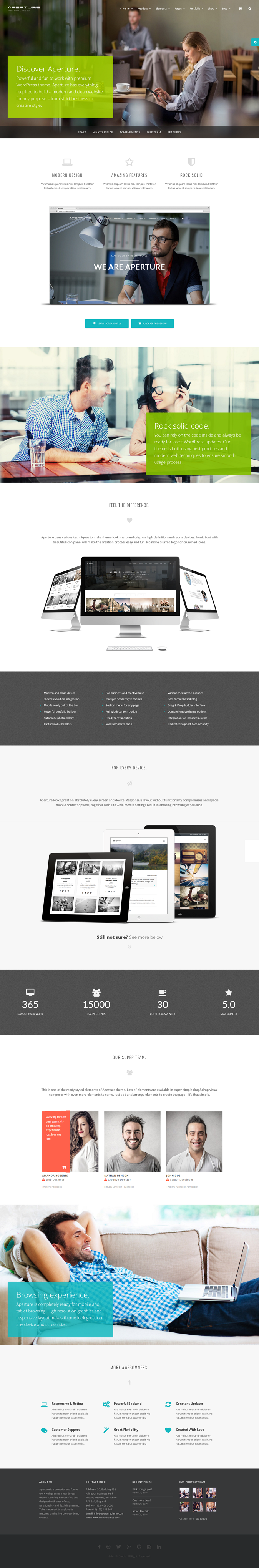 Aperture is a full featured WordPress Theme to build a modern and clean website for any purpose  ...