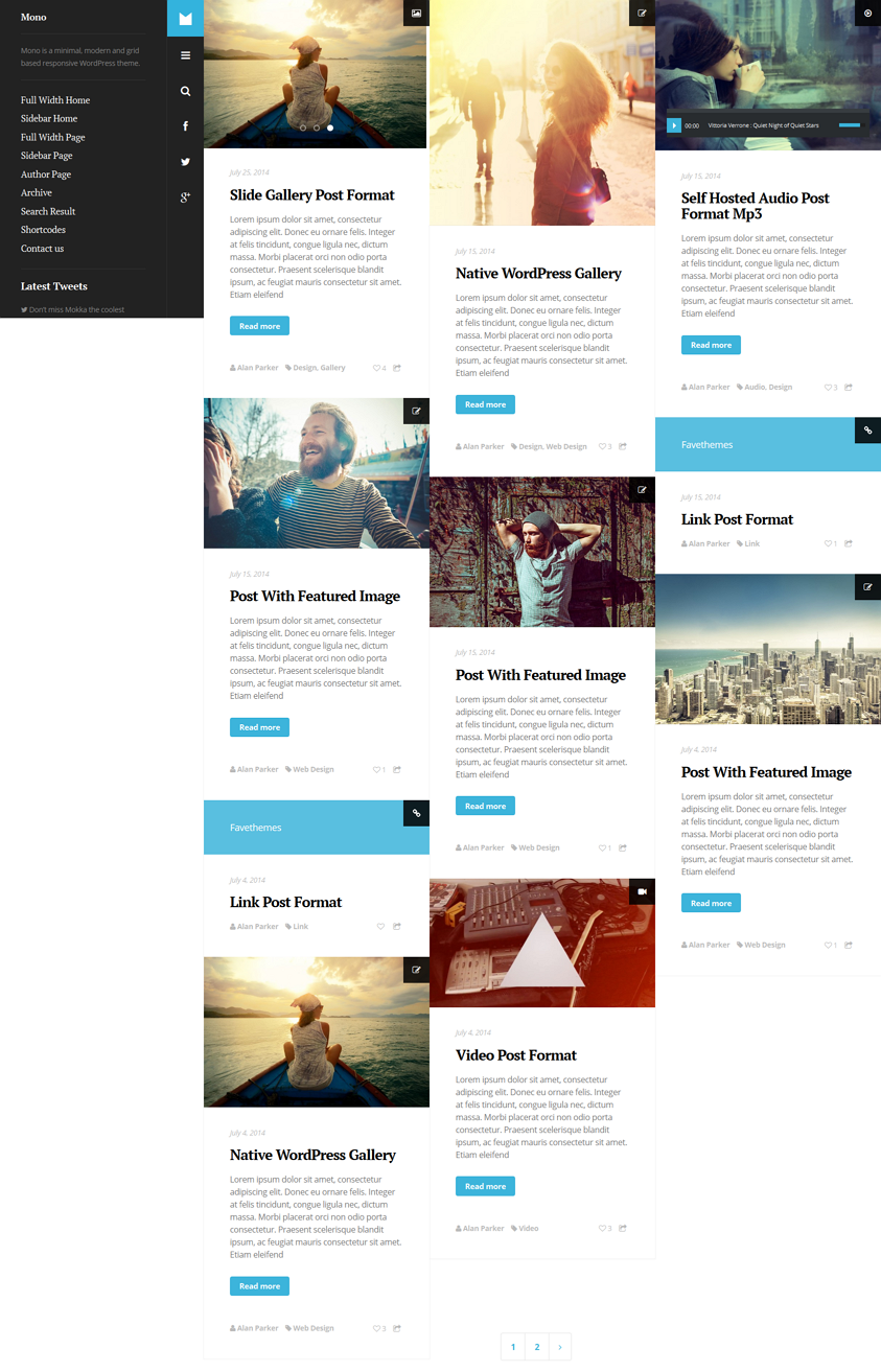 Mono is a minimal, modern and grid based responsive WordPress theme.