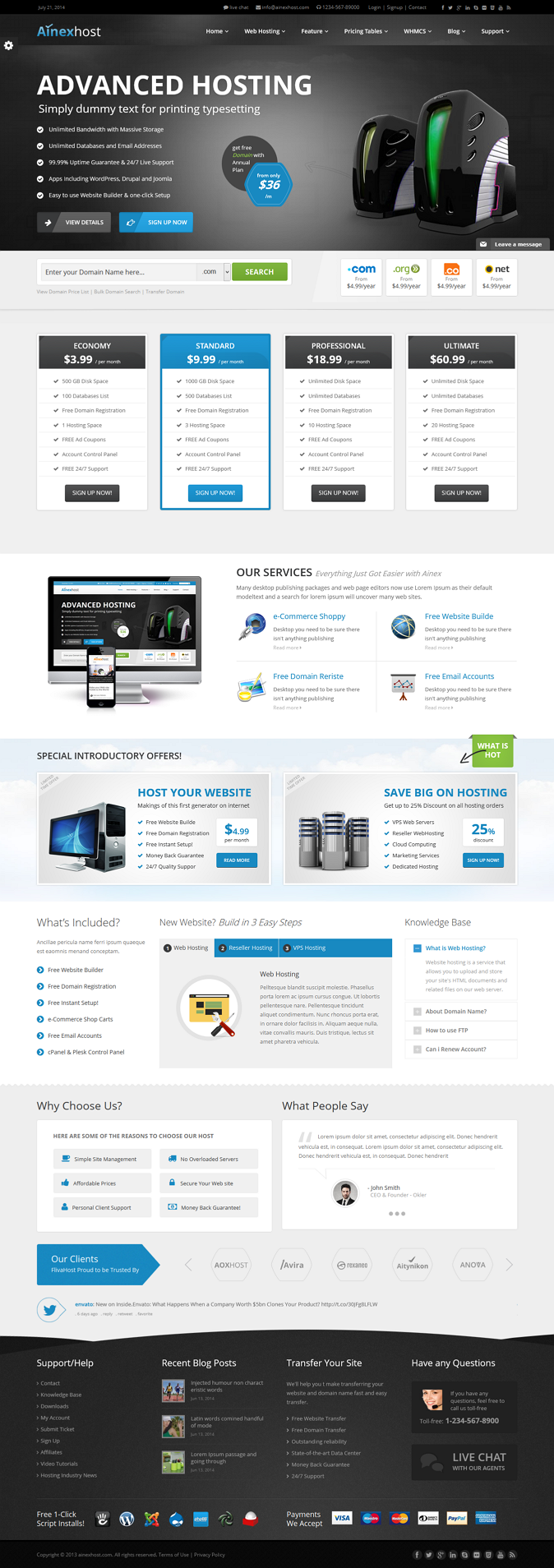 Ainex Host WHMCS WordPress Integration Theme is a fully responsive theme designed with 2 differe ...