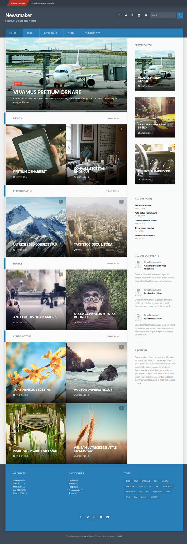 Newsmaker is a fully responsive, clean and elegant WordPress theme that is ideal for personal bl ...