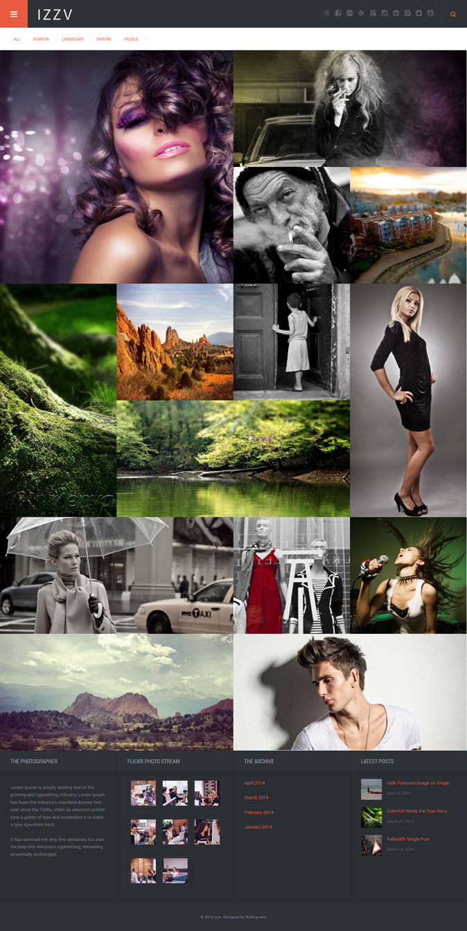 Izza, is beautiful WordPress Theme for photographer, creative and blogger.Comes with some fle ...