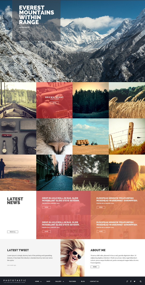 Phototastic is the best WordPress theme you need to create a Photography-based website.You ca ...