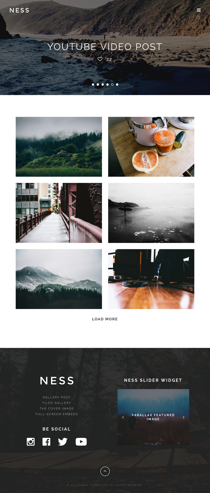 Ness is a modern minimalist personal photo magazine theme for WordPress that can be used on any  ...