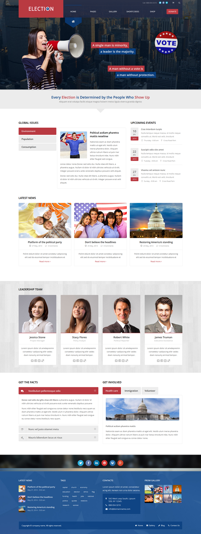 Election is a political WordPress retina ready theme with unlimited skins.  Whether you're a pol ...
