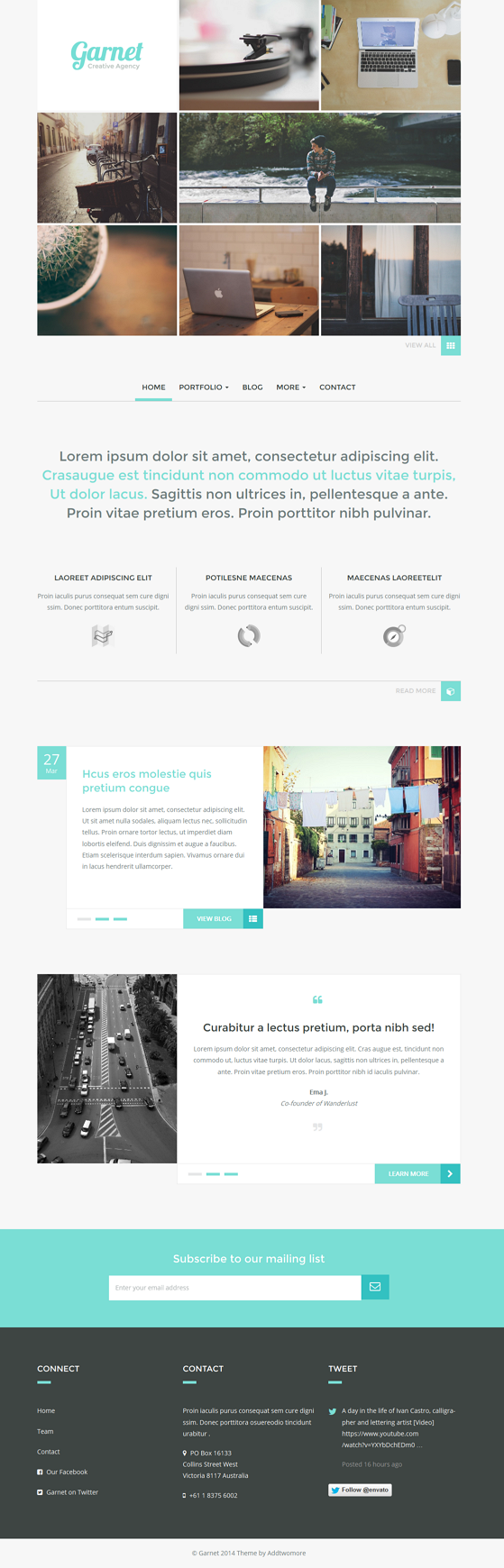 Garnet is a clean lightweight and elegant responsive WordPress theme suitable for any Portfolio.