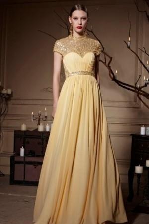 Yellow Tone Jewel Neckline Sheer Back Zipper Chiffon Long Formal Dress [XHC30620]- AU$           ...