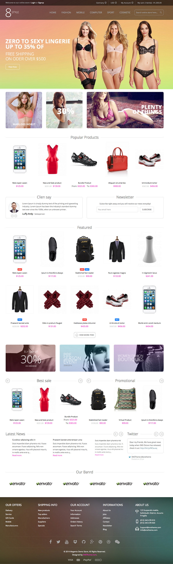 SNS I8style is an fresh and clean design new Responsive Magento Theme. It has extremely customiz ...