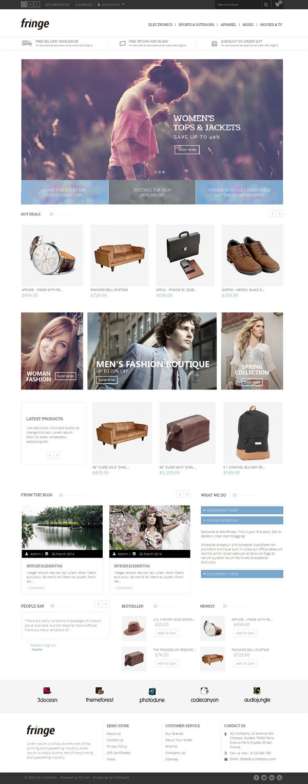 Fringe CS-Cart Responsive Theme is designed for cosmetic, Shoes, beauty, women and fashion store ...