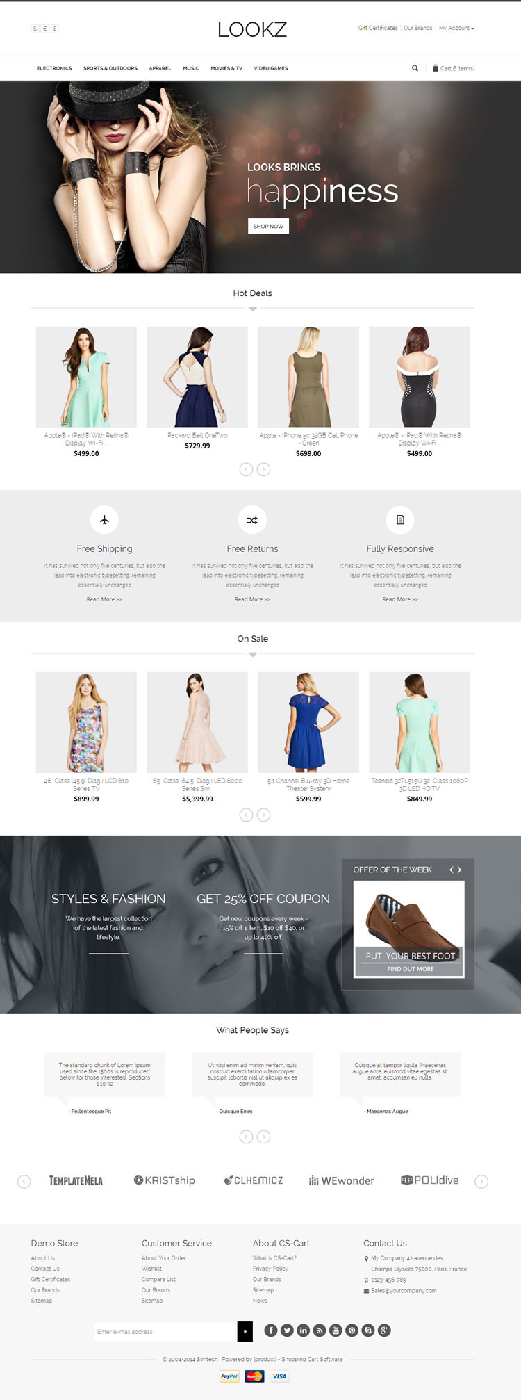 Lookz CS-Cart Template is designed for clothes, fashion store, apparel, sun glasses and women&#8 ...