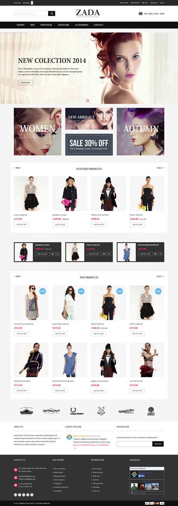 Zada is a Mega Store Responsive Magento Theme is dedicated for sportswear, furniture, gifts, sou ...