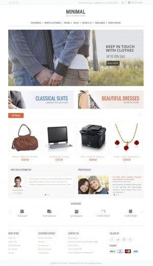 Minimal CS-Cart Template is dedicated for fashion designer, apparel, electronics, cosmetic, tool ...