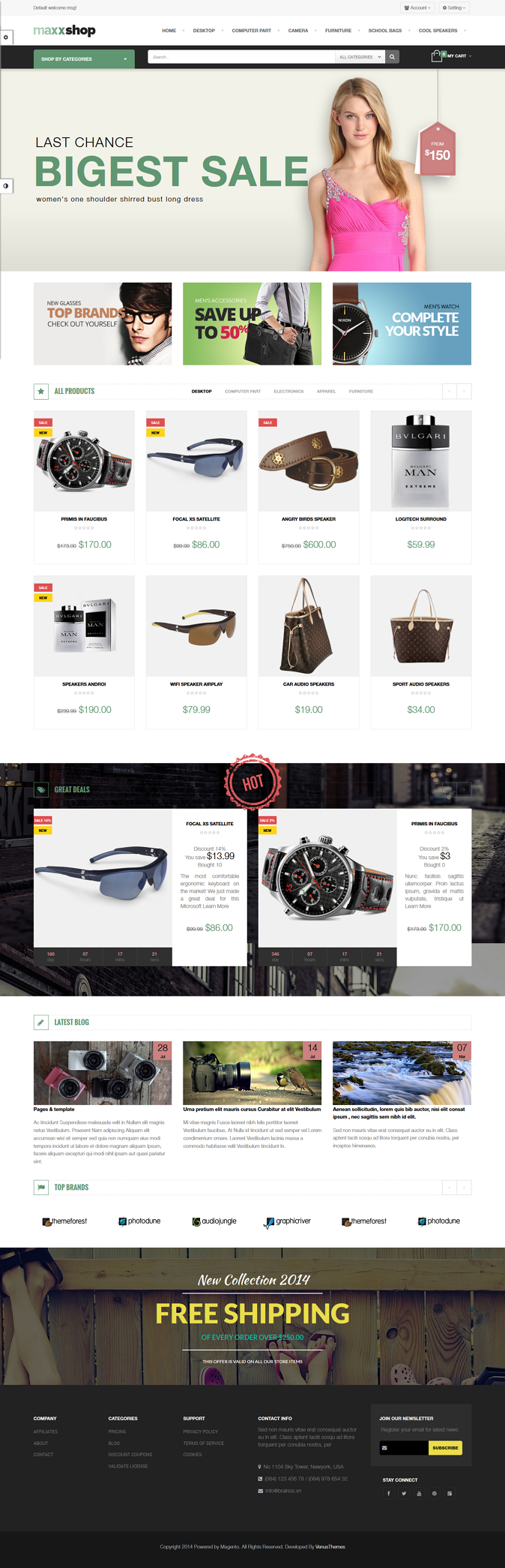 Maxx Store is a Responsive Magento Template suitable for any kind of Fashion Style, Glasses, Hig ...