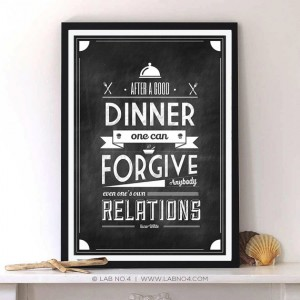 After a good dinner one can forgive anybody, even one's own relations by Oscar Wilde. Kitc ...