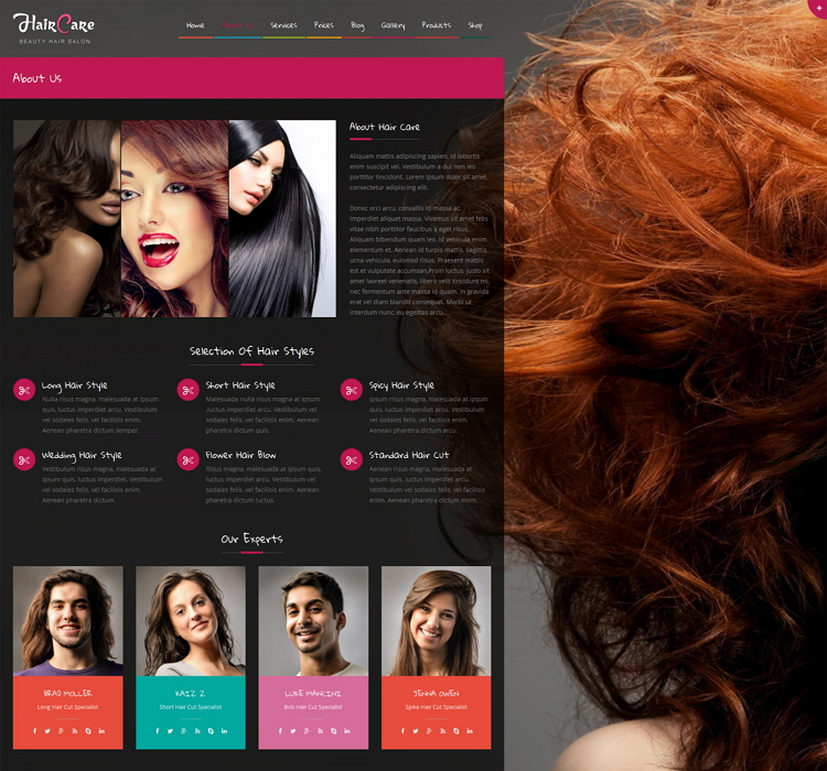 Hair Care is a premium WordPress CMS Theme for hair salons, beauty salons, beauty spa or any sim ...