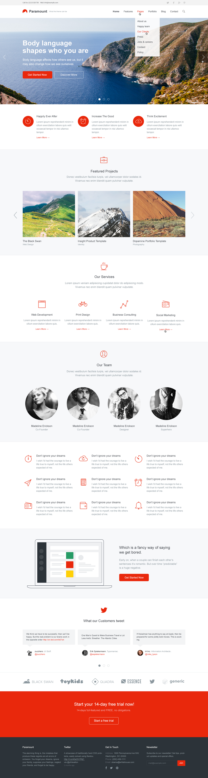 Paramount is beautiful, super clean and multipurpose HTML5/CSS3 Template.