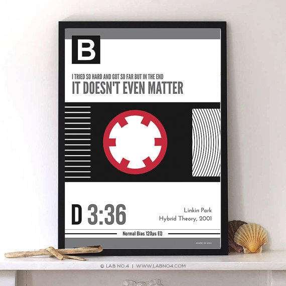In the end song,Linkin Park,The Hybrid Theory.An awesome song quote poster by Lab No. 4