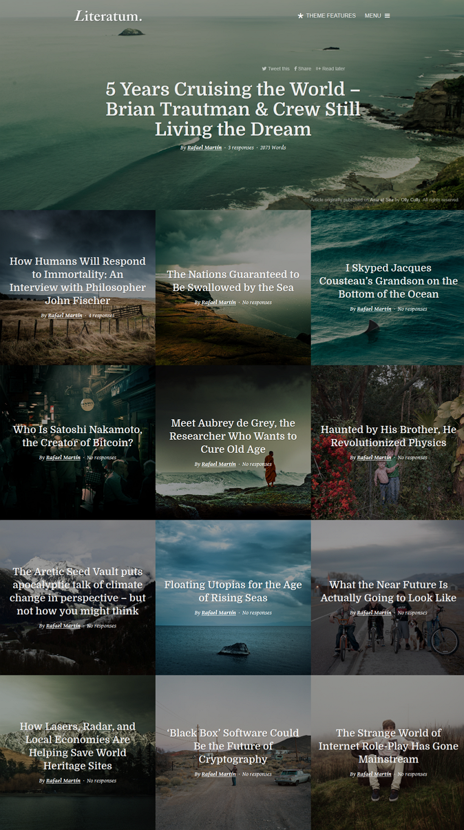 Literatum is a perfect WordPress theme for writers and online journals/magazines that are lookin ...