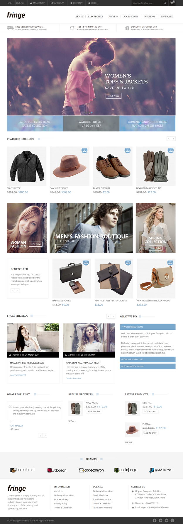 Fringe Magento Responsive Theme is designed for cosmetic, Shoes, beauty, women and fashion store ...