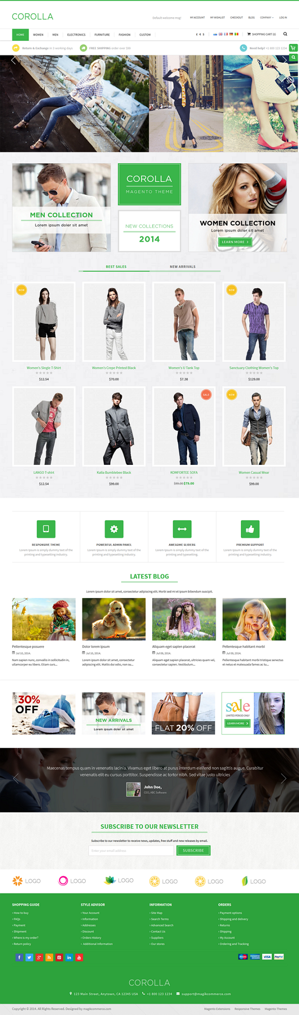 Corolla is a responsive multipurpose Magento theme which is fully customizable and suitable for  ...