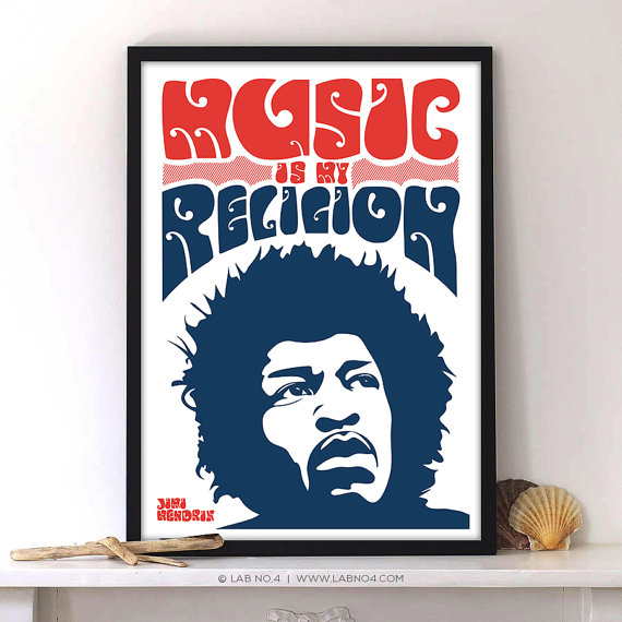 Music is my religion An inspiring Music Quote by Jimi Hendrix by Lab No 4