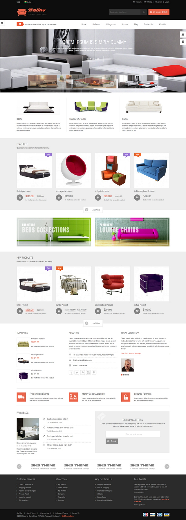 SNS Kalins is a Premium Responsive Magento Theme. A super neat design, it has 4 colors style and ...