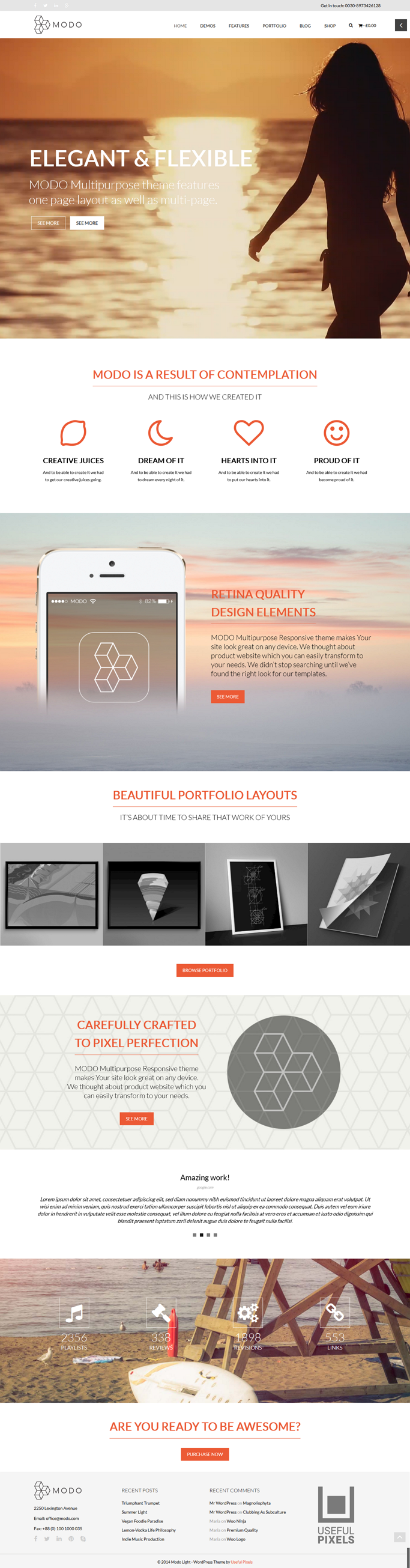 MODO is a powerful and beautiful, reatina ready and responsive theme – ideal for creative ...