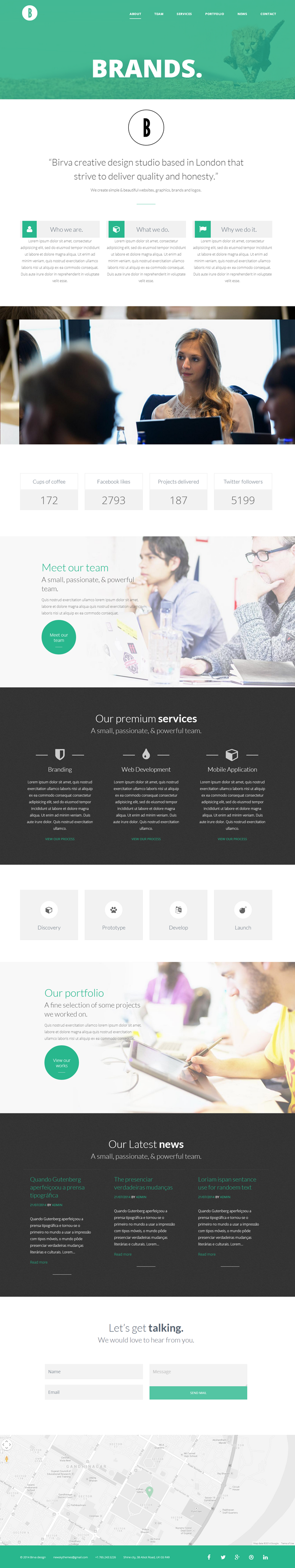 BIRVA One Page WordPress Theme is a vibrant, responsive one page parallax theme built on the Boo ...