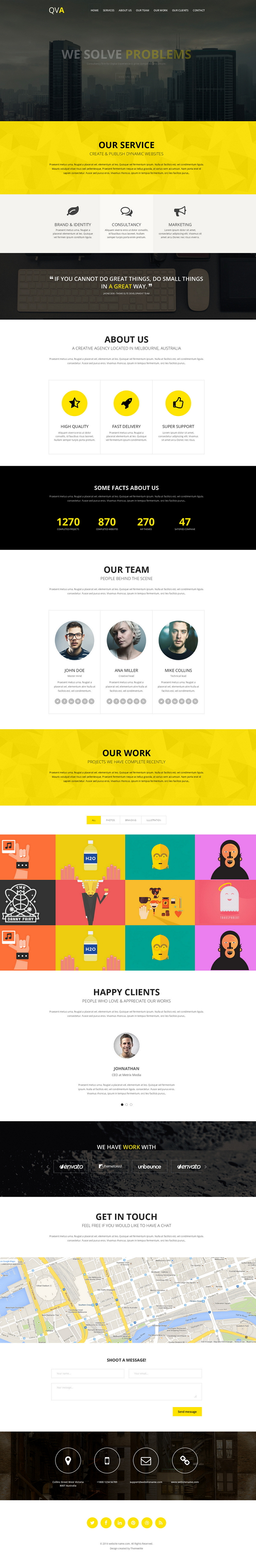 QVA is an responsive One Page Parallax WordPress Template built with HTML5 & CSS3.   It has  ...