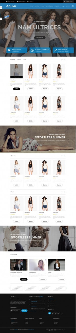 Olivia is a shopping theme. With #Beautiful color, background image combination, elegant layout  ...