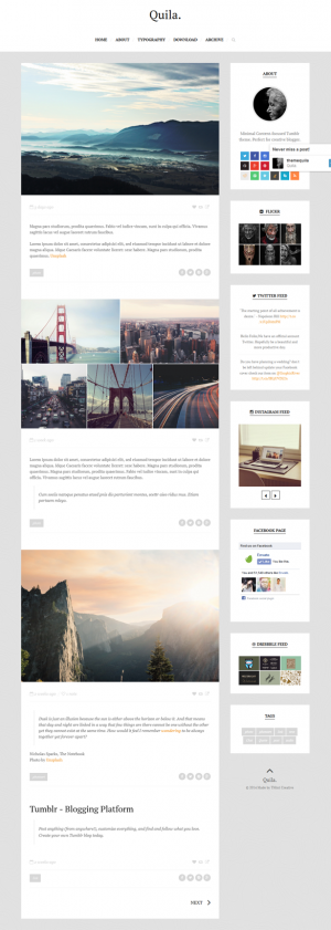 Quila is a content-focused clean Tumblr theme. Clean and minimalist design that make your blog m ...