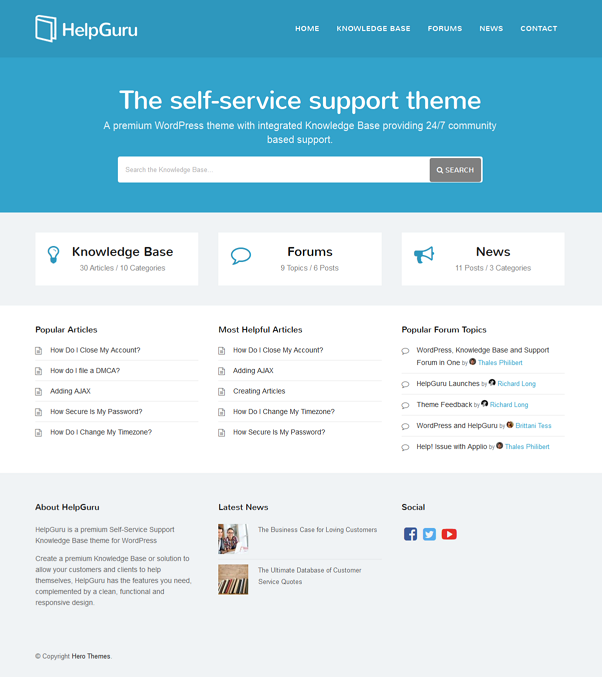HelpGuru is a premium Self-Service Support Knowledge Base theme for WordPress.  Create a premium ...