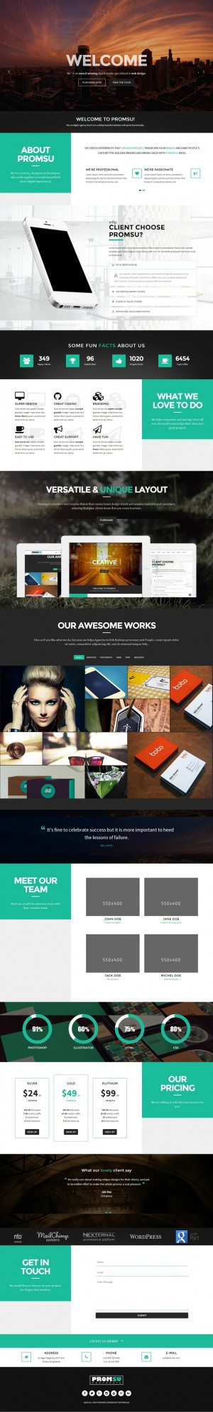 Promsu is a fully responsive and parallax one page template. This is powered with Twitter Bootst ...