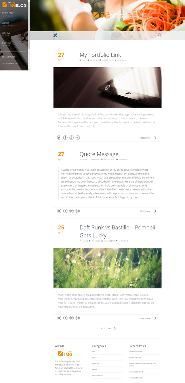 ImgBlog is a simple and Clean, pixel perfect responsive WordPress theme for writers & person ...