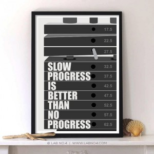 Slow progress is better than no progress. A motivating Gym & Workout Quote Poster by Lab No. 4