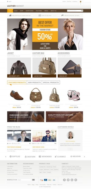 Leather Market is WordPress eCommerce theme based on WooCommerce plugin. It is suitable for leat ...