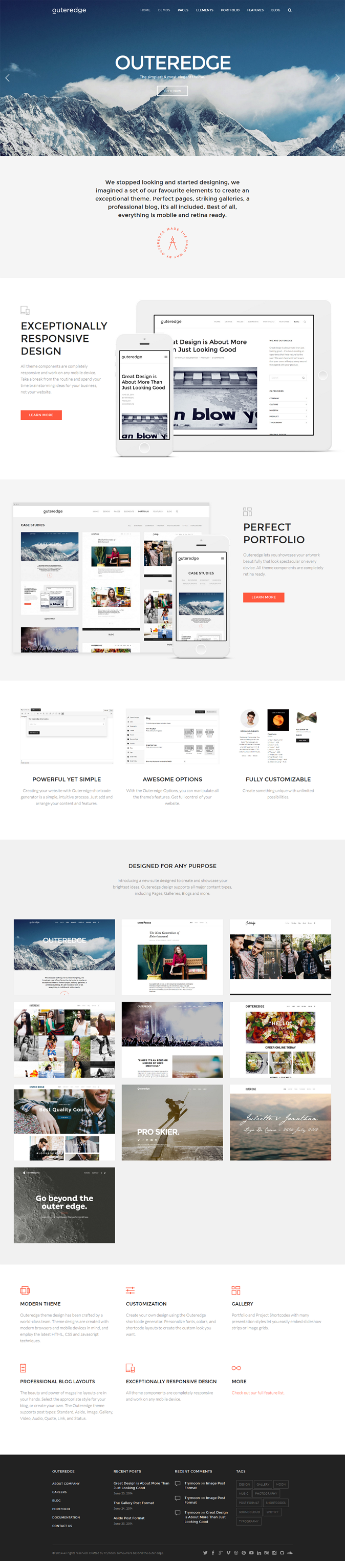 Outeredge is a clean, simple and flexible WordPress Theme suited for business website, modern an ...