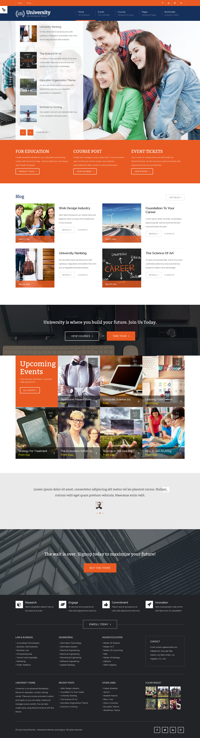 University is a multipurpose WordPress theme for Events, Courses, business and shopping site. Th ...